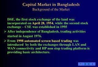Capital Market in Bangladesh Basic Markets