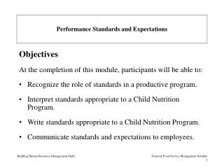 Performance Standards and Expectations