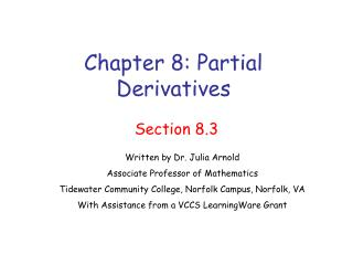 Chapter 8: Partial Derivatives