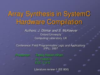 Array Synthesis in SystemC Hardware Compilation