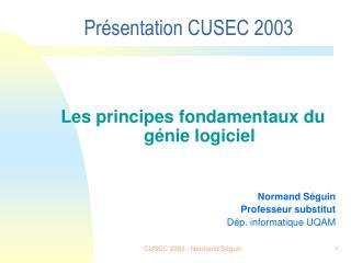 CUSEC 2003 - Normand Séguin