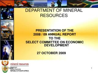 DEPARTMENT OF MINERAL RESOURCES