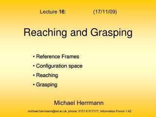Reaching and Grasping