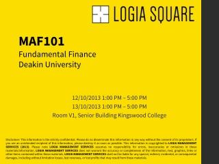 Deakin University: MAF101 (Fundamental Finance)