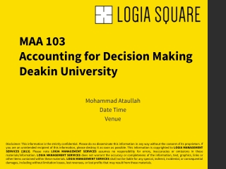 Deakin University: MAA101 (Accounting for Decision Making)