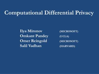 Computational Differential Privacy