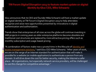 TM Forum Digital Disruption 2013 to feature market update on