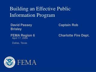 Building an Effective Public Information Program