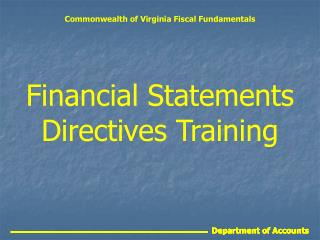 Financial Statements Directives Training