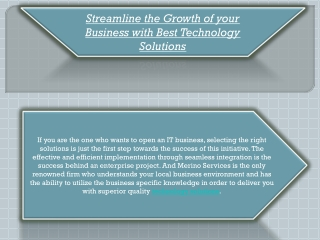Streamline the Growth of your Business with Best Technology