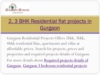 2, 3 BHK Residential flat projects in Gurgaon
