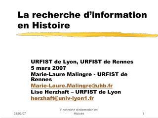 La recherche d information en Histoire