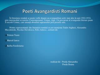 Poeti Avangardisti Romani