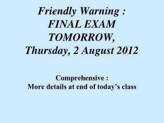 Final Exam Details