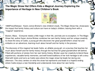 The Magic Straw Hat Offers Kids a Magical Journey Exploring