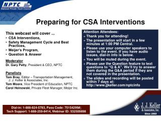 Preparing for CSA Interventions
