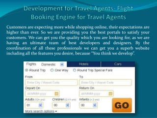 Development for Travel Agents- Flight Booking Engine for Tra