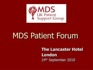 MDS Patient Forum