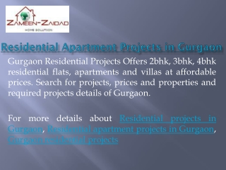 Residential Apartment Projects in Gurgaon