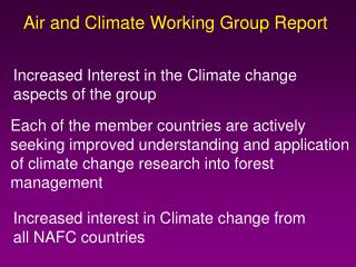 Air and Climate Working Group Report