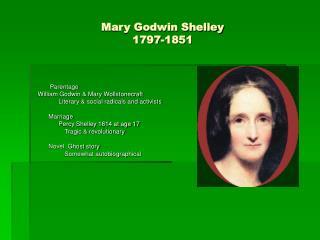 Mary Godwin Shelley 1797-1851