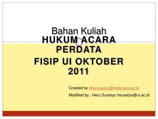 Hukum Acara perdataFISIP UI Oktober 2011