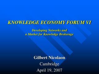 Gilbert NicolaonCambridgeApril 19, 2007