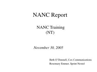 NANC Report 