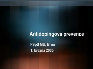 Antidopingová prevence