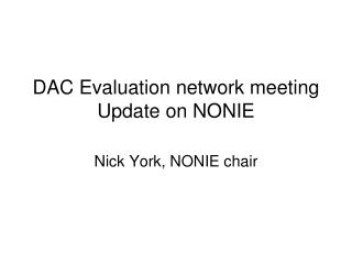 DAC Evaluation network meeting 