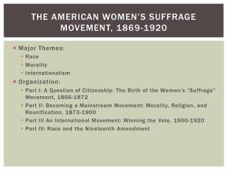 The American Women's Suffrage Movement, 1869-1920
