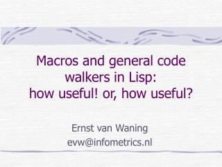 Ernst van Waningevw@infometrics.nl