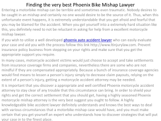Discovering the Best Phoenix  Bike Accident Attorne