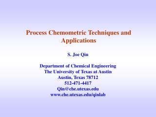 Process Chemometric Techniques and Applications