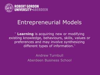 Entrepreneurial Models