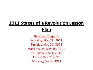 2011 Stages of a Revolution Lesson Plan