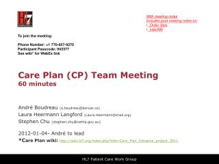 Care Plan (CP) Team Meeting 