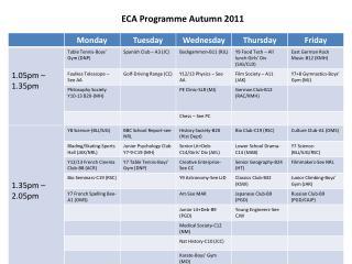 ECA Programme Autumn 2011