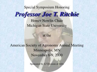 Professor Joe T. Ritchie