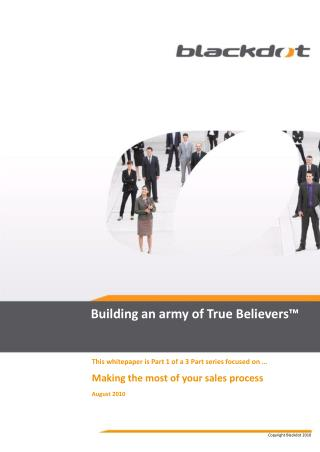 sales force effectiveness - building an army of true believe
