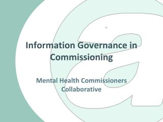 Information Governance in Commissioning