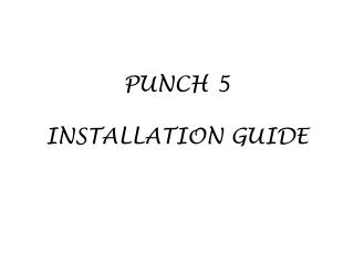 PUNCH 5   INSTALLATION GUIDE