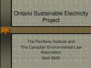 Ontario Sustainable Electricity Project