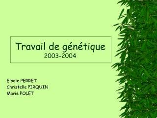 Travail de génétique 2003-2004