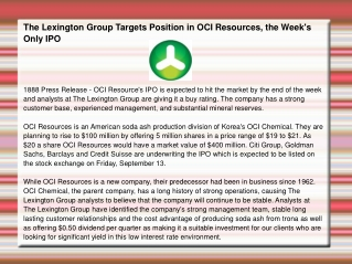 The Lexington Group Targets Position in OCI Resources