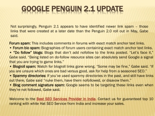 Google Penguin 2.1 Update and Recovery Tips