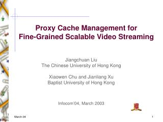 Proxy Cache Management for
