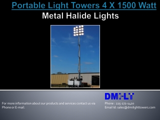 Portable Light Tower 4x1500 Watt Metal Halide Lights