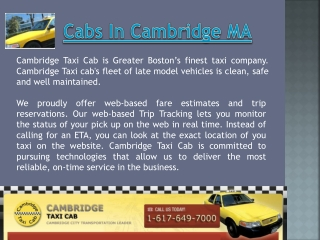 Cambridge Cab MA