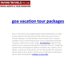 goa vacation tour packages